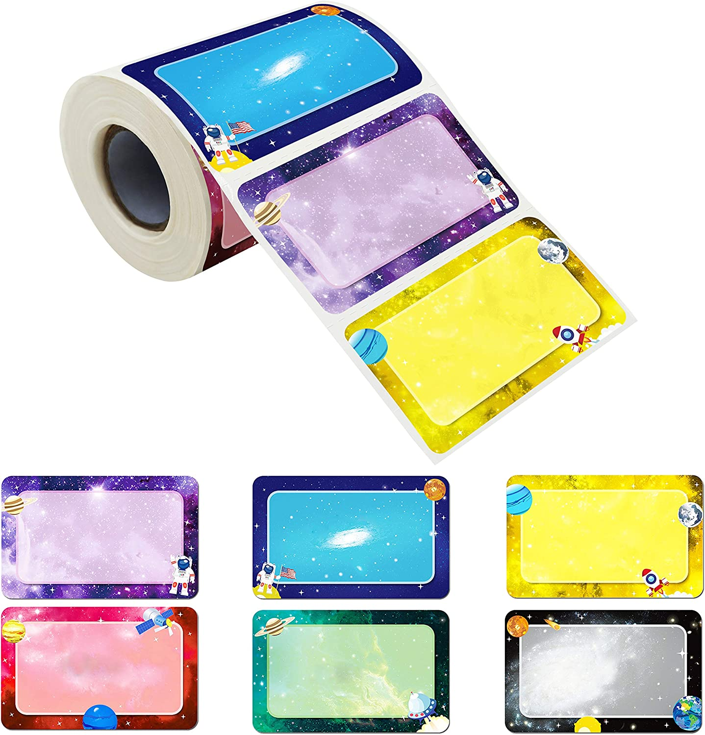 """300 Pcs Name Tag Label Sticker Galaxy-Themed in 6 Designs with Perforated Line for School Office Home (3.5""""x2.2"""" Each) …"""