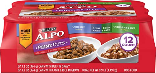 Purina ALPO Gravy Wet Dog Food Variety Pack, Prime Cuts With Beef With Lamb Rice – 12 13.2 oz. Cans