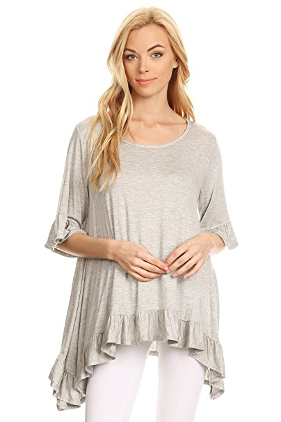 d72e2284bb396 Modern Kiwi Jolie Solid 3/4 Sleeve Layered Ruffle Tunic Top Heather Grey  Large