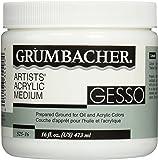 Grumbacher Gesso (Hyplar) Artists' Acrylic & Oil Paint Medium, 16 oz. Jar (0146640448), Packaging May Vary