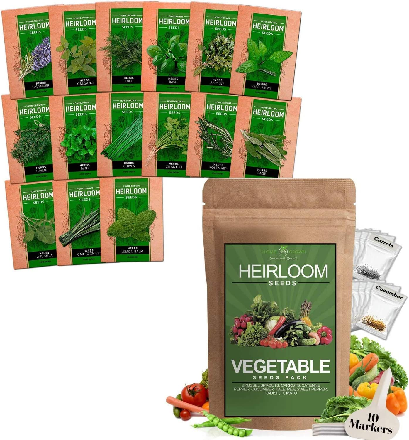 Vegetable and Herb Seeds Vault - [Bundle] Heirloom and Non GMO Seeds for Planting Indoors or Outdoors