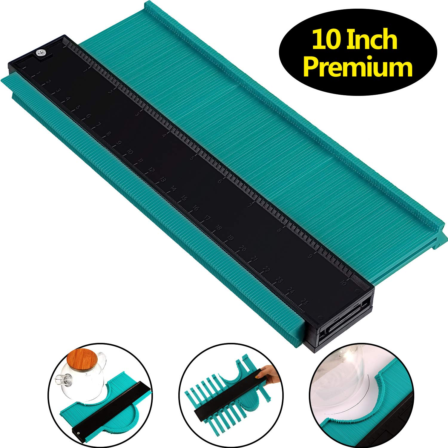 10 Inch Multi-functional Contour Gauge Plastic Profile Gauge Multifunctional Shape Duplicator Edge Shaping Measure Ruler for Professional Precise Measurement (3 cm Wider, Green) by Norme