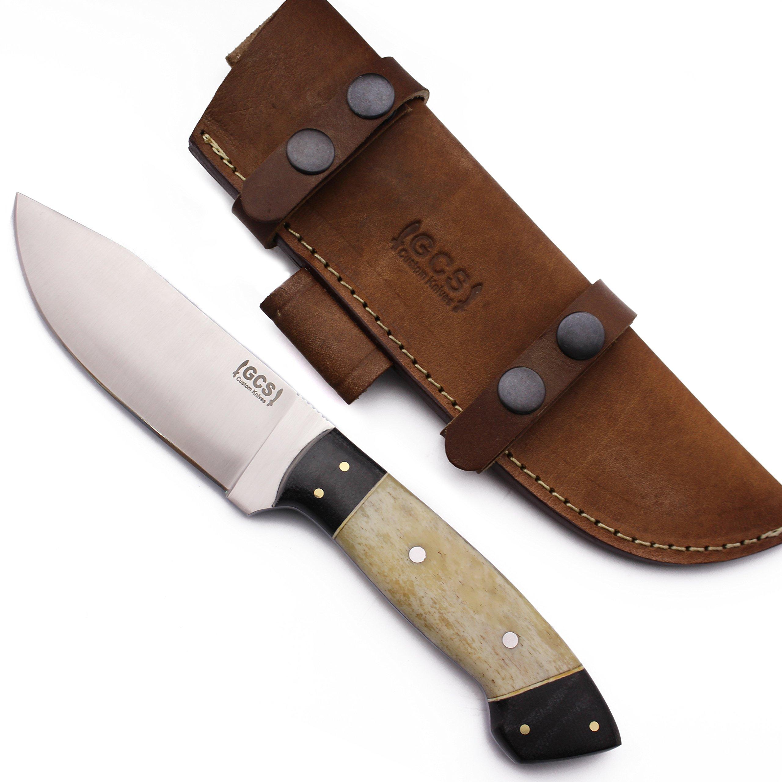 GCS Custom Handmade Camel Bone Handle D2 Tool Steel Skinner Bushcraft Knife Buffalo Hide Sheath GCS 114