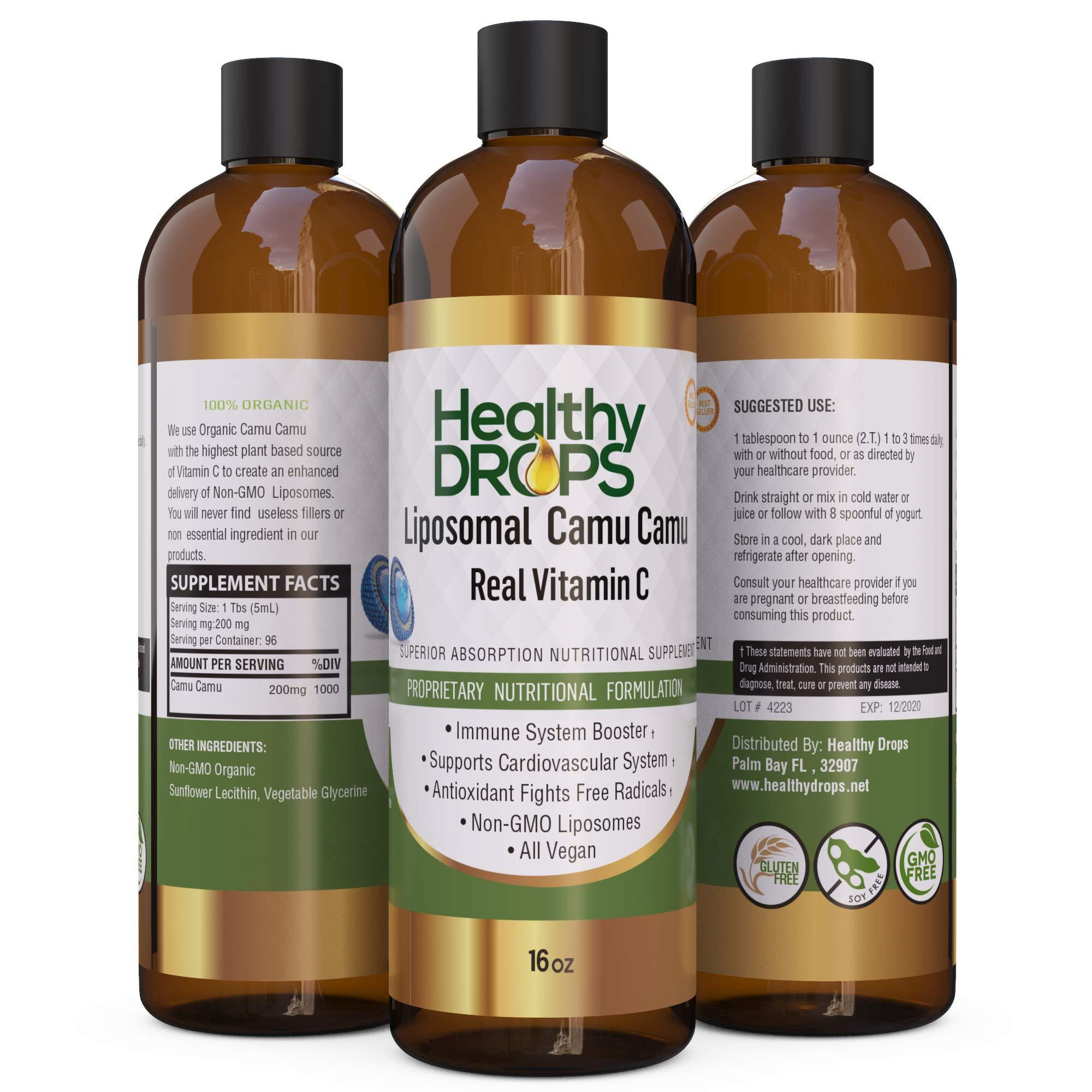 Vitamin C Liquid Supplement, Real Vitamin C from CAMU CAMU 13X Stronger - 200mg Liposomal Fruit Based Extract, Non-GMO, Vegan - 96 Doses - 16 Ounces