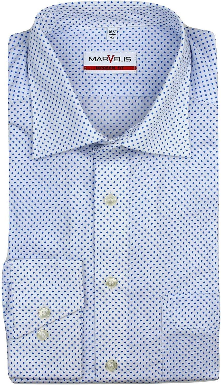 MARVELIS - Camisa de manga larga para hombre, diseño geométrico, algodón de fácil cuidado, color blanco y azul Azul Geométrico azul. Medium: Amazon.es: Ropa y accesorios