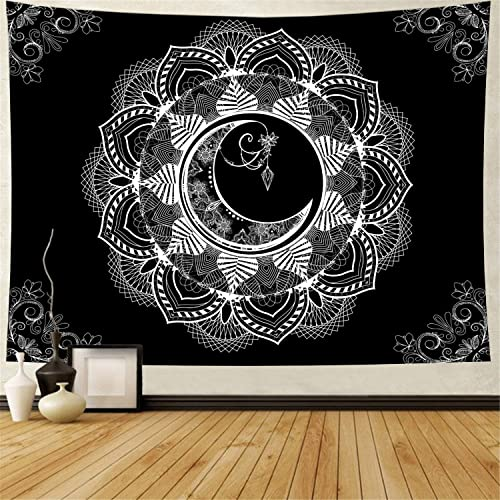 Ameyahud Mandala Tapestry Bohemian Moon Mandala Wall Tapestry Black and White Psychedelic Mandala Tapestry Hippie Flower Tapestry Wall Hanging for Living Room Bedroom XL 70.8 x 92.5 , 3 Mandala