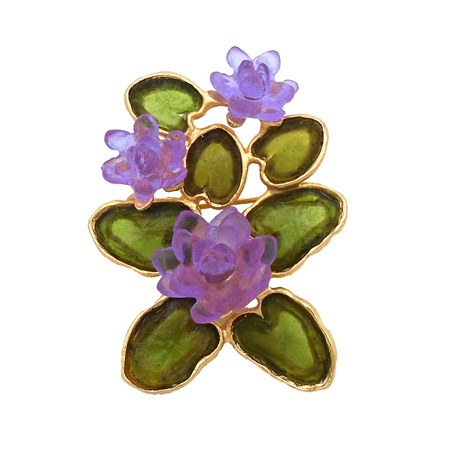Blue Michael Vincent Michaud Glass Water Lily Pin//Brooch in Green// Lt