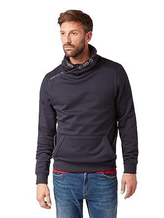 a1f7010c85677 Tom Tailor Men's Sweatpullover mit Kangaroo Tasche und XXL Kragen Sweatshirt,  Blue (Grindle Dark