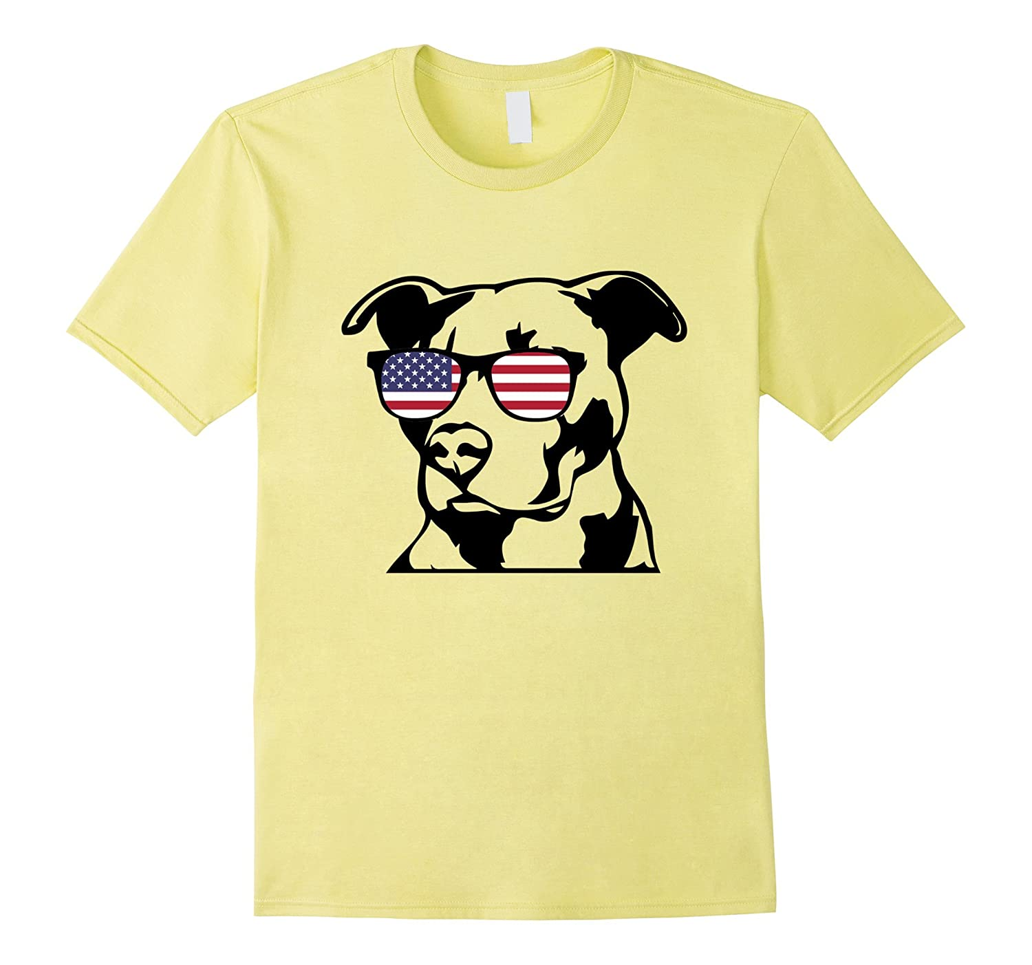 18b71be9950dd Funny Pitbull With American Flag Glasses 4th of July T-Shirt –  Febaaccessories.com