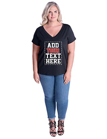 031c2080 Amazon.com: Custom Plus Size V Neck Womens T Shirts - Design Your OWN  Ladies Plus Size Tops: Clothing