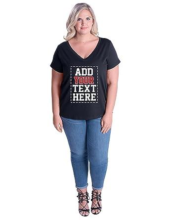 97012b5db Amazon.com: Custom Plus Size V Neck Womens T Shirts - Design Your OWN Ladies  Plus Size Tops: Clothing