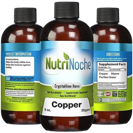 NutriNoche - Liquid Colloidal Copper - 30 PPM 8 fl oz - Nano Copper - Crystalline