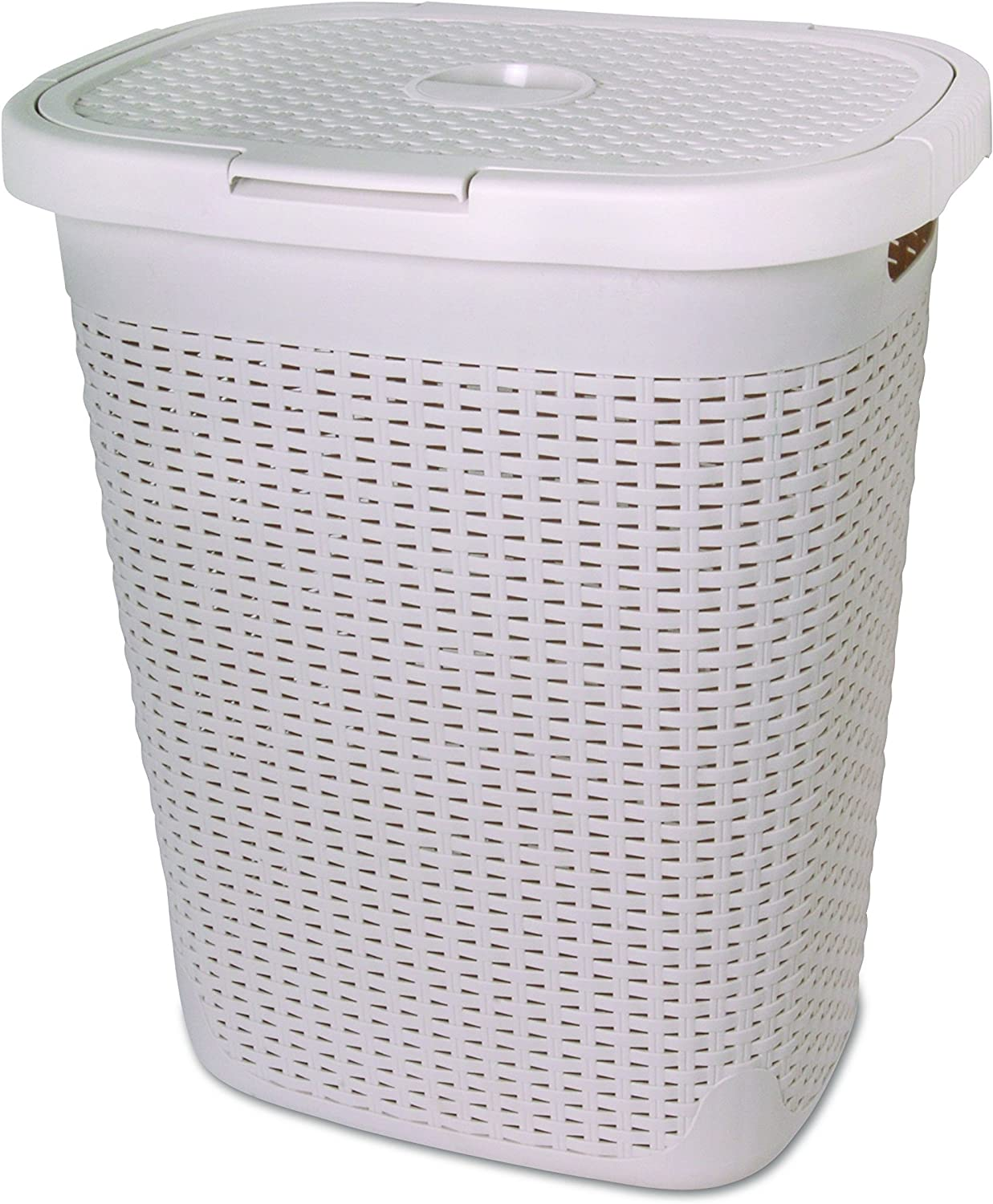 Wicker Laundry Hamper With Lid 50 Liter - Bone Ivory Laundry Basket 1.40 Bushel Durable Bin With Cutout Handles - Easy Storage Dirty Cloths in Washroom Bathroom, Or Bedroom. By Superio