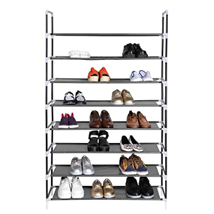 Homdox Stackable Shoe Rack Organizer 8 Tiers Shoe Tower Shoe Storage  Organizer Super Space Saving