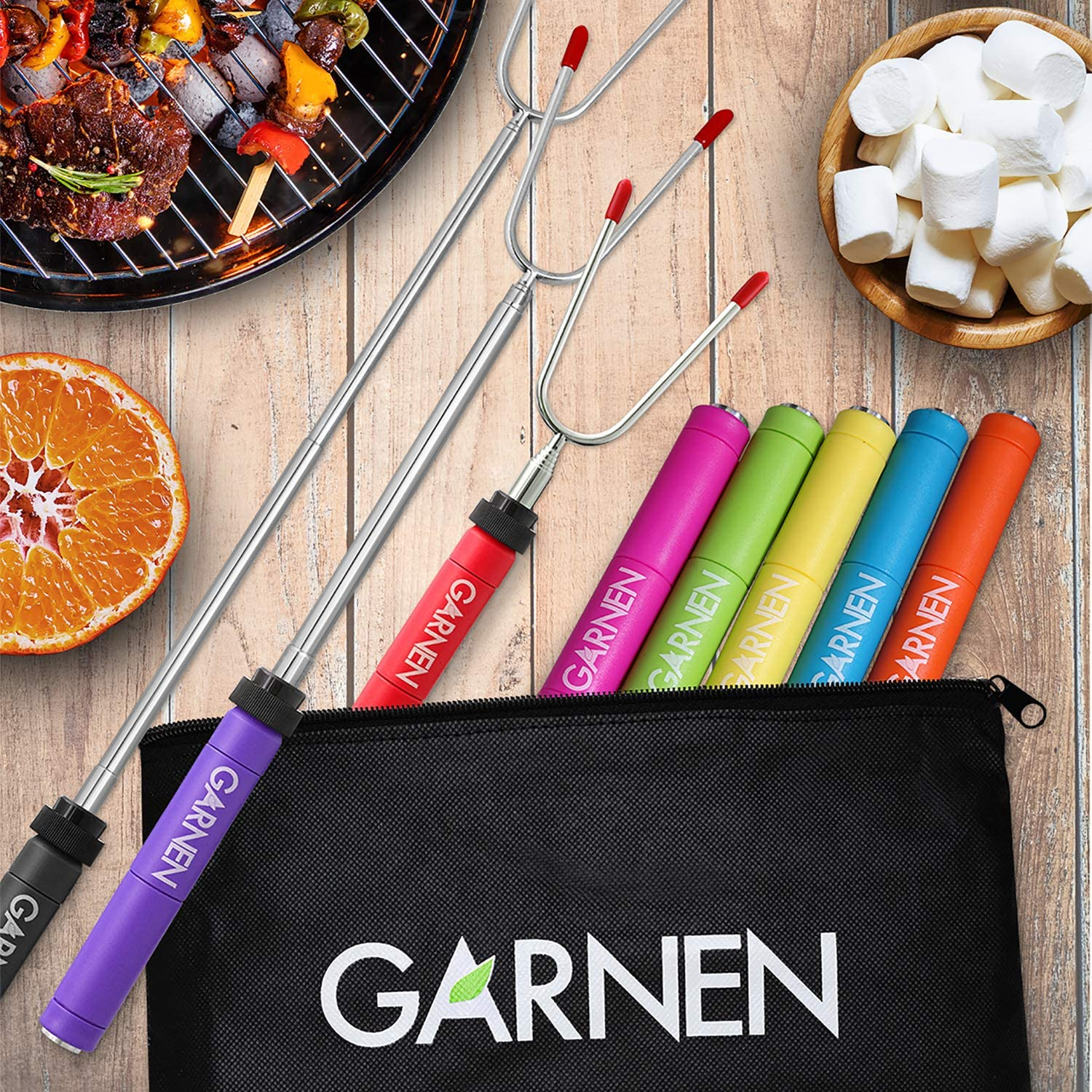 Garnen BBQ Marshmallow Roasting Smores Sticks with Pouch (8 Packs), 34 inch Extendable Rotating Stainless Steel Skewer Fork with Plastic Handle for Kids Camping Grill Campfire Firepit: Computers & Accessories