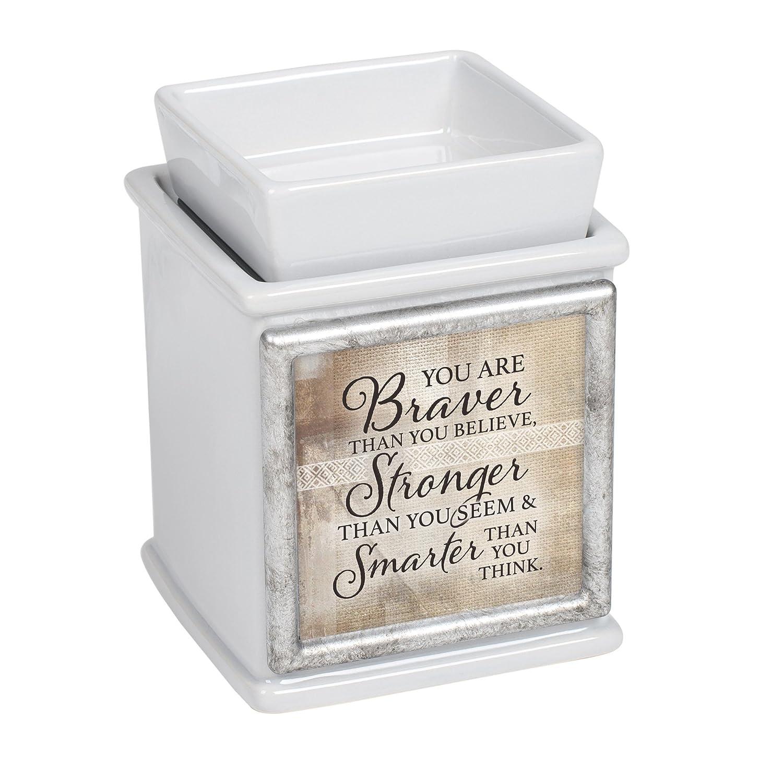Elanze Designs Braver Stronger Smarter Ceramic Slate Grey Interchangeable Photo Frame Candle Wax Oil Warmer