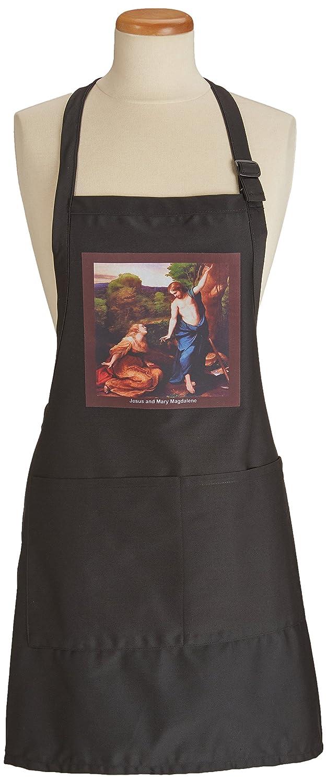 apr/_42958/_4 3dRose Sandy Mertens Easter Vintage Jesus and Mary Magdalene BLACK Full Length Apron with Pockets 22w x 30l