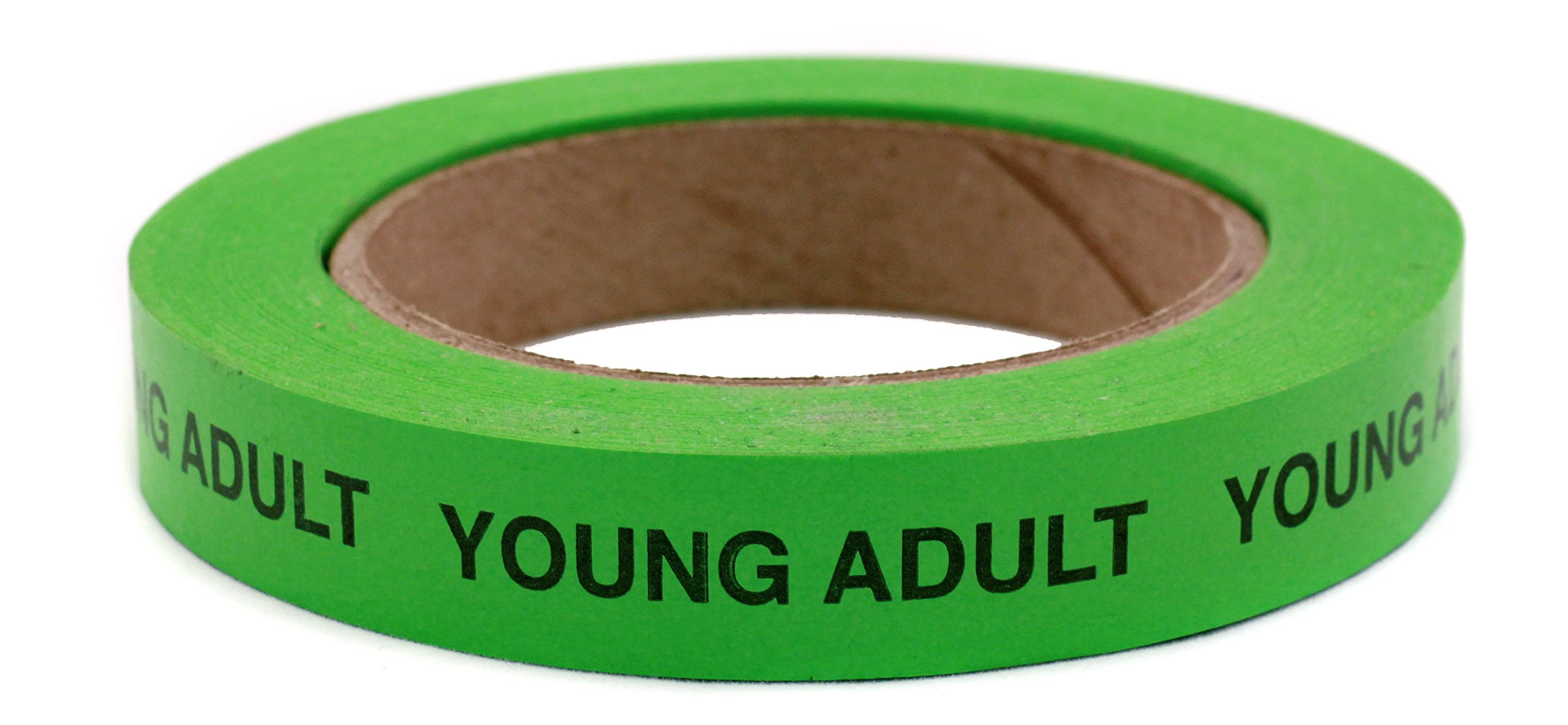 ''YOUNG ADULT'' Continuously Imprinted, Removable-Adhesive Green Tape with Black Imprint   3/4'' x 1440'' Sticky Tape
