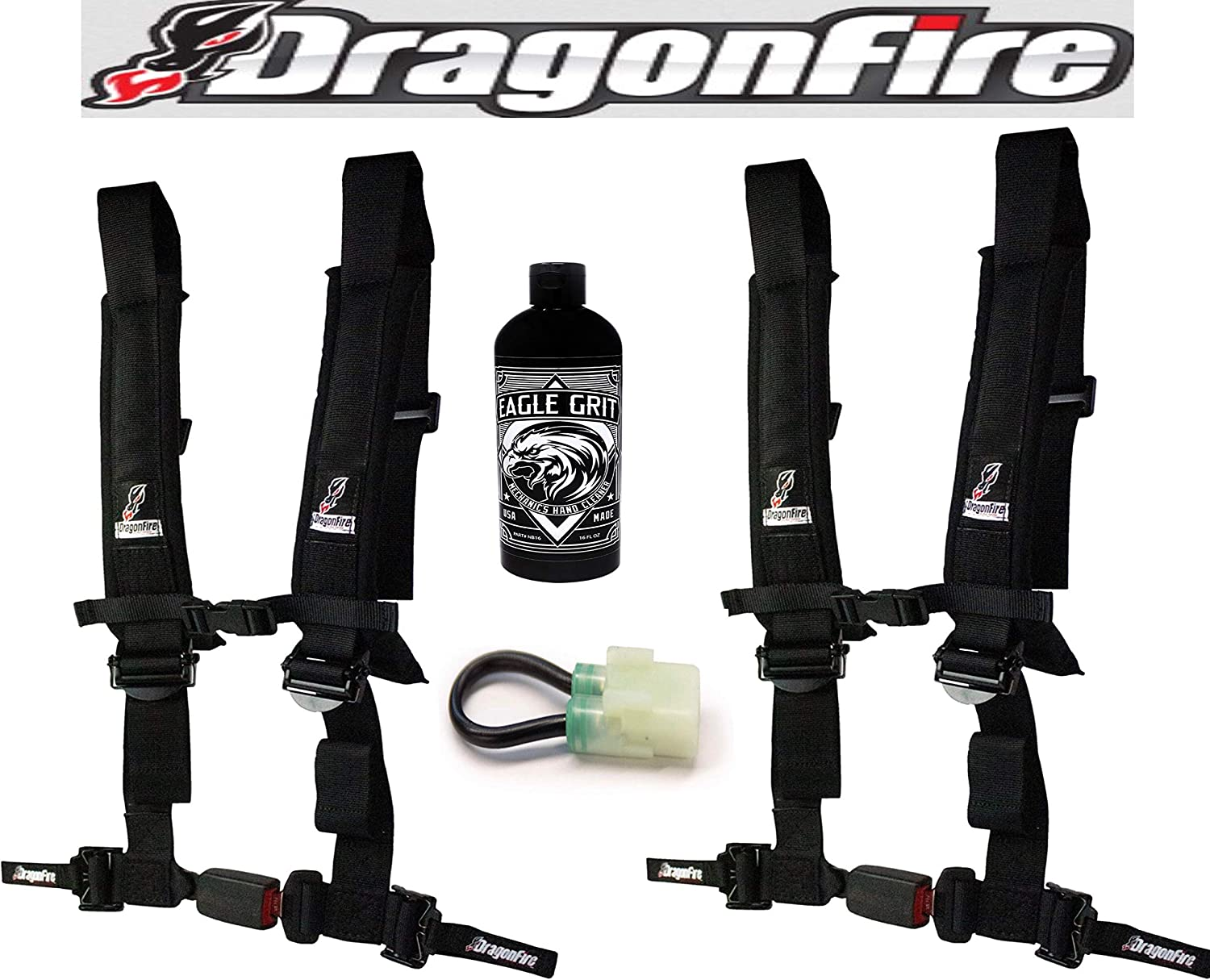 4-Point Harness UTV 2 H-Style AUTO LATCH Set of 2 with EZ Adjust shoulder straps by Dragonfire Racing and Honda and Override Clip for Honda Talon With Free Eagle Grit Hand Cleaner