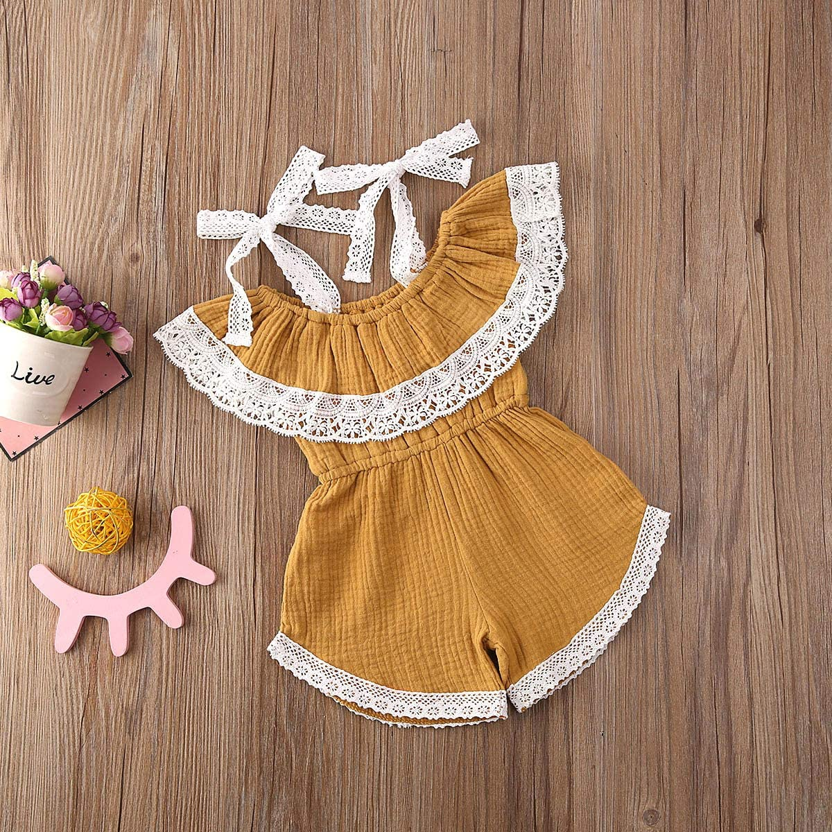 Toddler Baby Girl Sleeveless Strap Romper Solid Jumpsuit One-Piece Harem Pants Overalls Summer Clothes