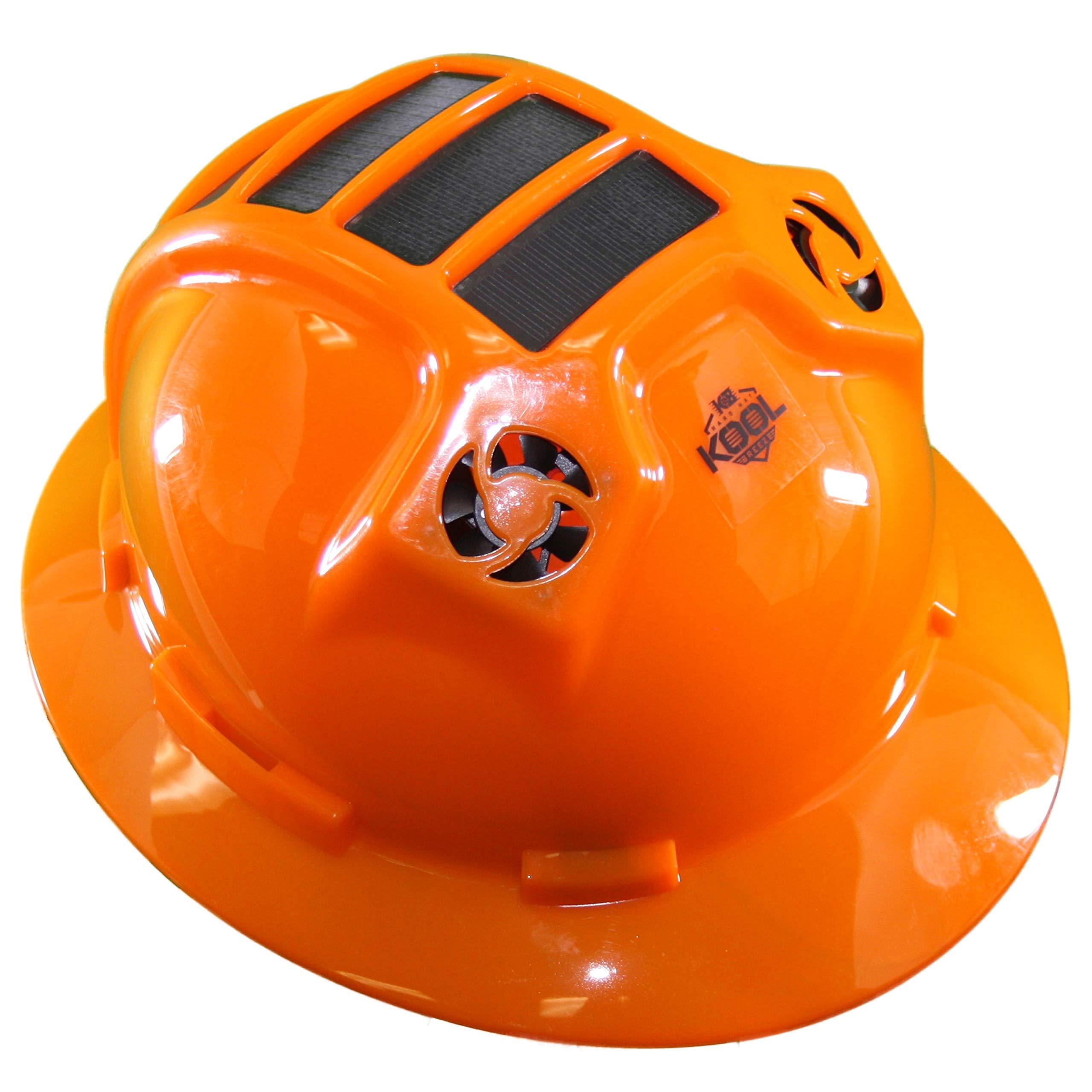 Hard Hat Head Protection Kool Breeze Solar Helmet With Rechargeable Battery and Adjustable Ratchet Suspension (Orange) by Kool Breeze Solar Hats (Image #1)