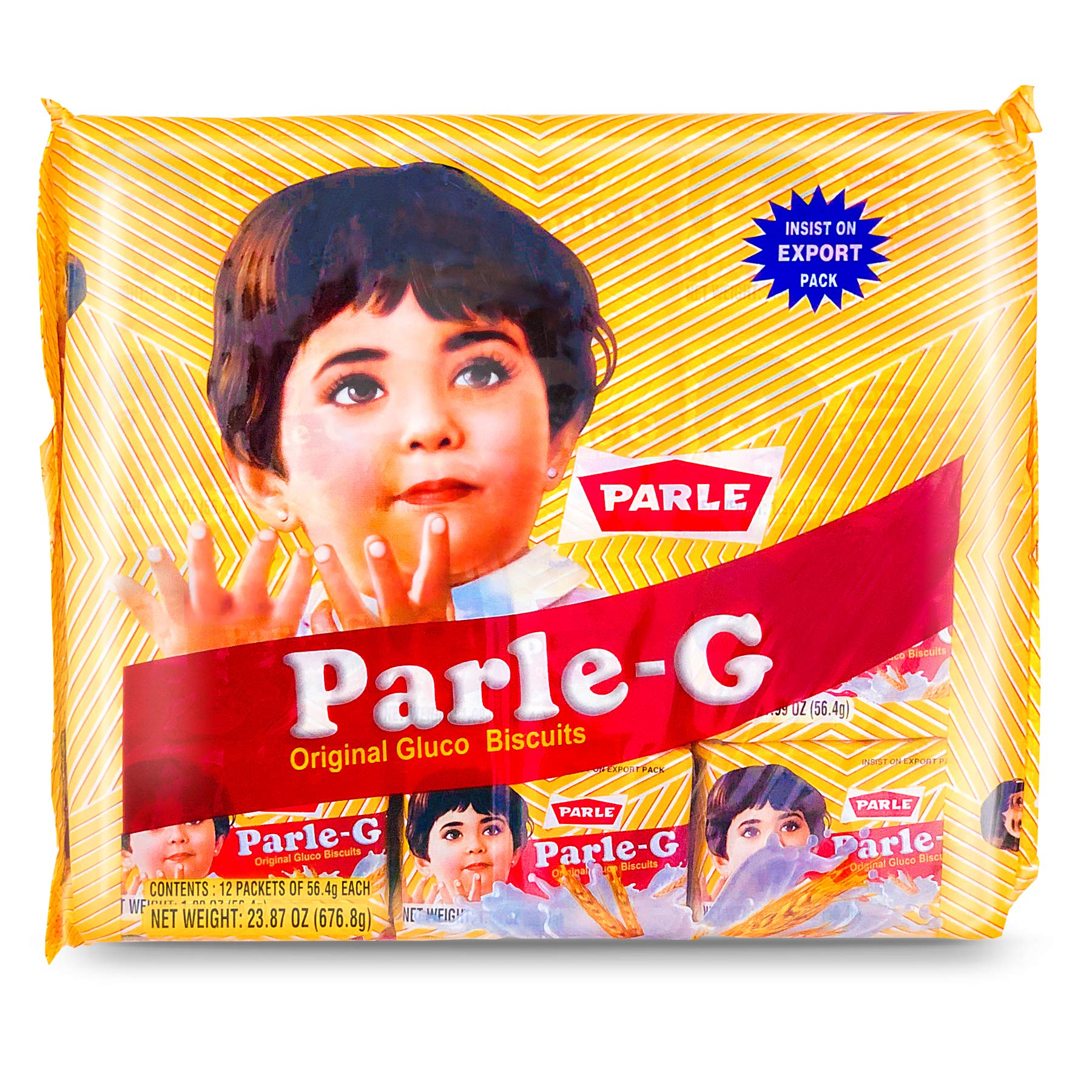 Parle G Original Gluco Biscuits, Product of India, Value Pack (12 Packets of 56.4g)