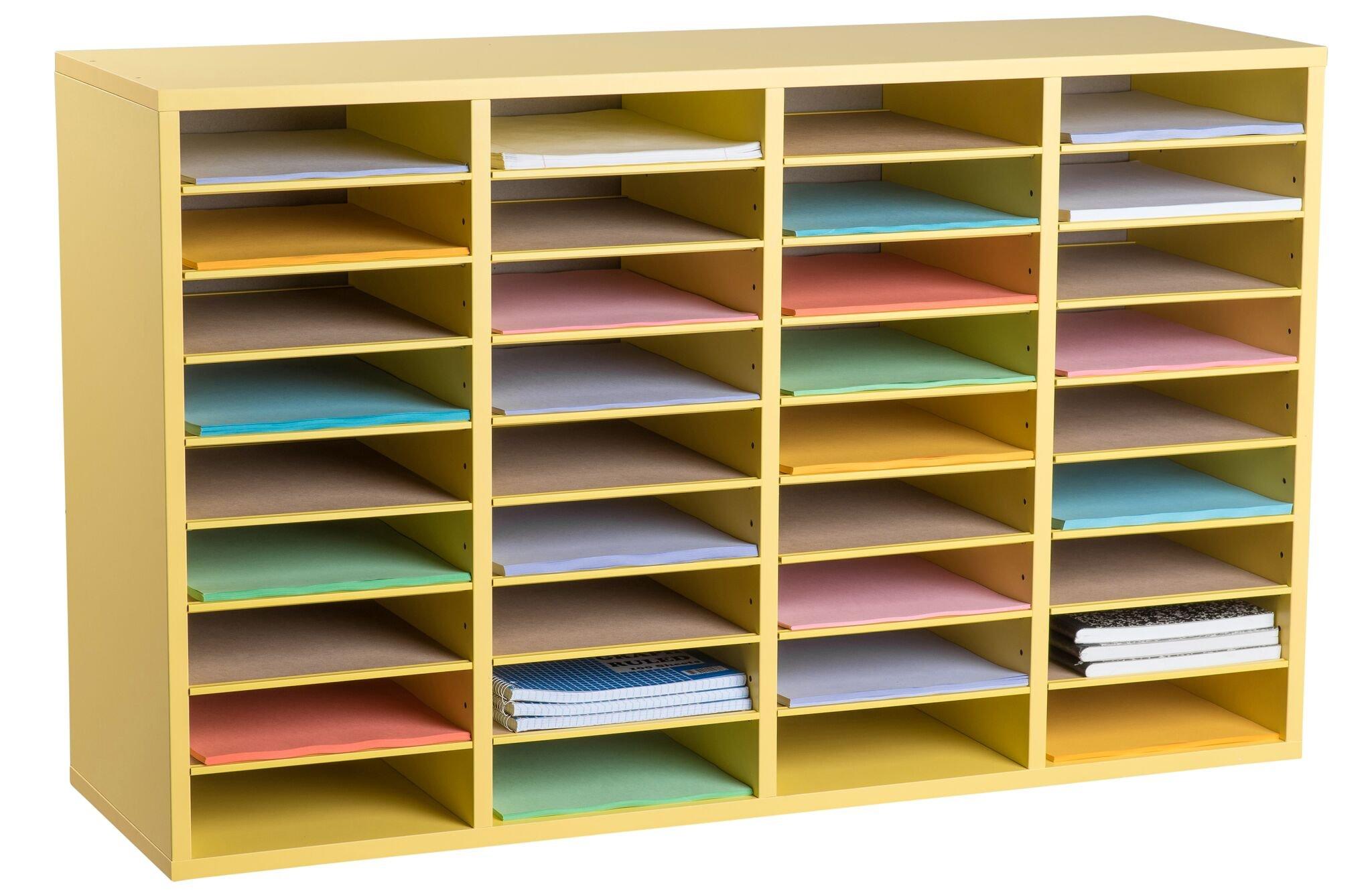 AdirOffice Wood Adjustable Literature Organizer (36 Compartment, Yellow)