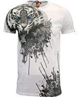 d89da6fe9 Juice Mens Designer Branded Longline Floral Slim Fit T Shirt: Amazon ...