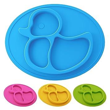 Rutschfest Geschirr unterteilt Tischset Blau Gelb Ente Silikon Kinder Teller
