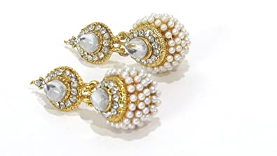 d7bb2a477 Buy Shree Mauli Creation White Alloy White Stone Pearl Jhumka Earring for  Women SMCE364 Online at Low Prices in India   Amazon Jewellery Store -  Amazon.in