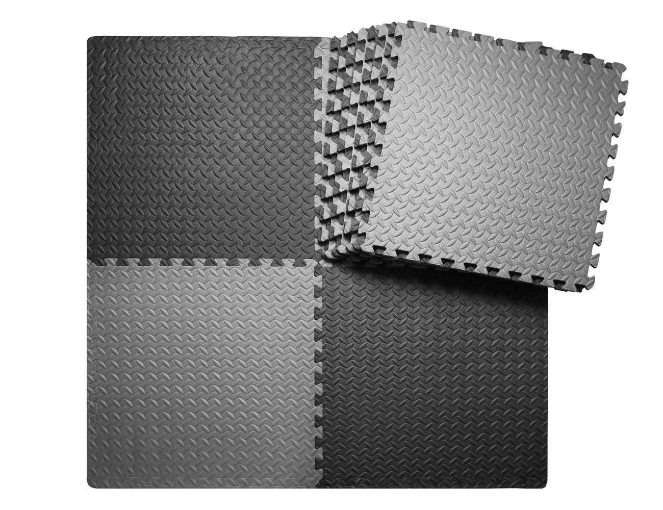 innhom 12 Tiles, 46 SQ. FT Gym Mat Puzzle Exercise Mats Gym Flooring Mat Interlocking Foam Mats with EVA Foam Floor Tiles for Gym Equipment Workouts, Black and Gray
