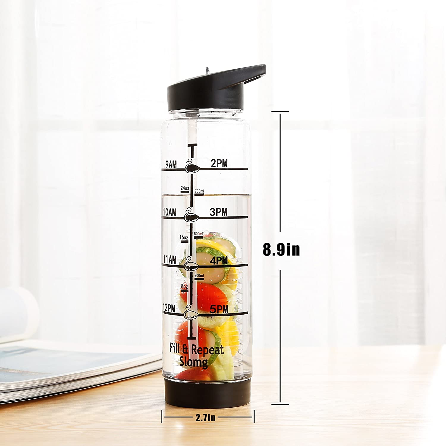 Office Detox Infuser Tritan Drinking Bottle Black Slomg Large Infused Fruit Water Infusion Bottles Time Markings BPA Free Leak Proof Sport Travel Water Bottle with Measurements 32oz Straw Water Bottles