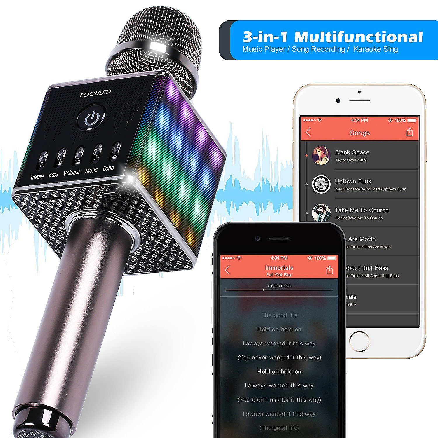 Portable Wireless Bluetooth Karaoke Microphone with LED lights, Built-in HIFI Dual-Speaker 10W and 2600mAH battery capacity, Handheld karaoke Mic Speaker Machine for Home KTV Birthday Party by FOCULED (Image #5)