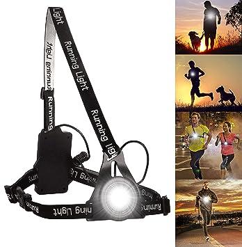 Luz para Correr Running, BraceTek luz led Frontal correr con Recargables USB Impermeable, Muy