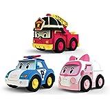 Robocar Poli - 83197 - Pack de 3 véhicules à friction (Ambre, poli, Roy)