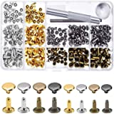 240 Sets Leather Rivets, Double Cap Rivet Tubular 4 Colours 2 Sizes Metal Studs with Fixing Tools for DIY Leather Craft…