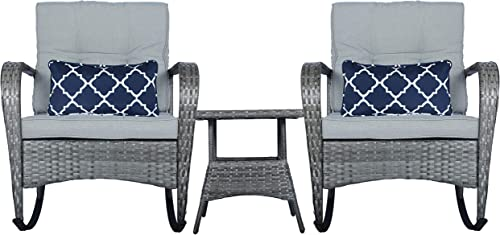FUNKOCO 3 Pieces Patio PE Rattan Conversation Chair Set