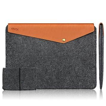 3a091f12f3a80 Arvok 11-12 Zoll MacBook Pro Vintage Envelope Dunkelgrau Laptophülle  Notebooktasche Laptoptasche Filz   Leder