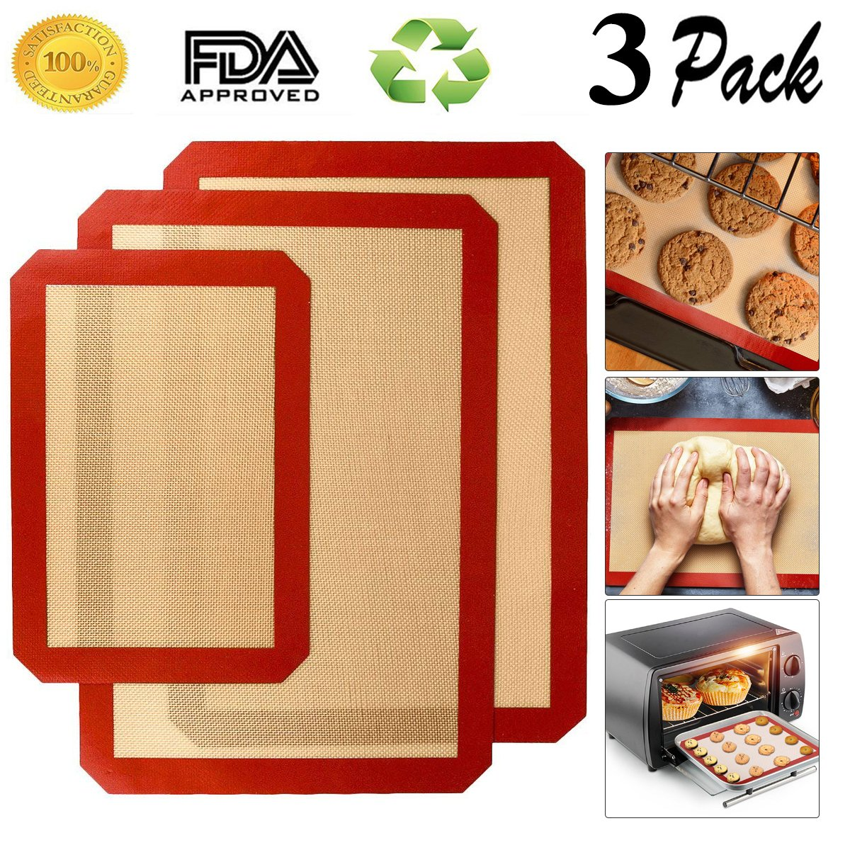 Cookey Silicone Baking Mats Non-stick Non-slip Washable Reusable Heat-resistant BPA Free FDA and LFGB Certified Approved,Set of 3