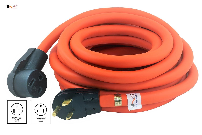 Ac Works Wd650pr 025 25ft Stw 8 3 6 50 Welder Nema Wiring Extension Cord Cell Phones Accessories