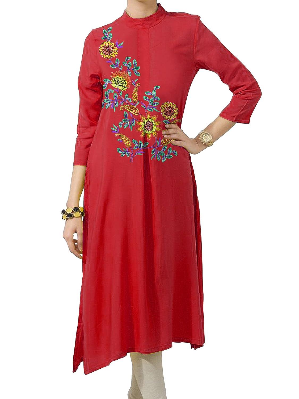 Kurti Mania Silk Long Top Green, Orange, Purple, Red, Yellow Embroidery (Customizable)