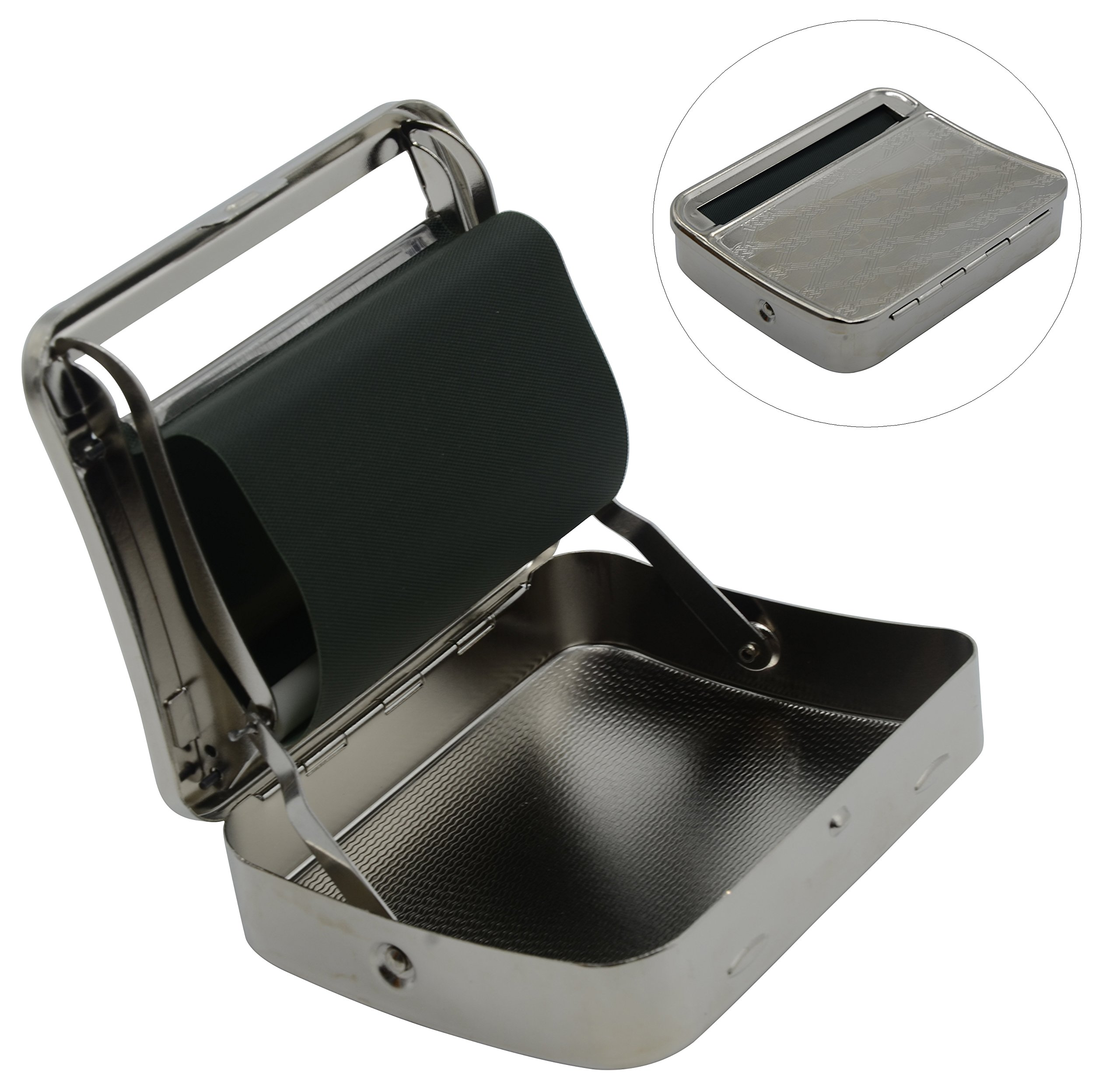 LeRich New Arrival Metal Automatic Cigarette Tobacco Roller Roll Rolling Machine Box Case Tin & Storage Box