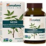 Himalaya Organic Neem 60 Caplets for Mild Acne & Healthy Skin 600mg, 2 Month Supply