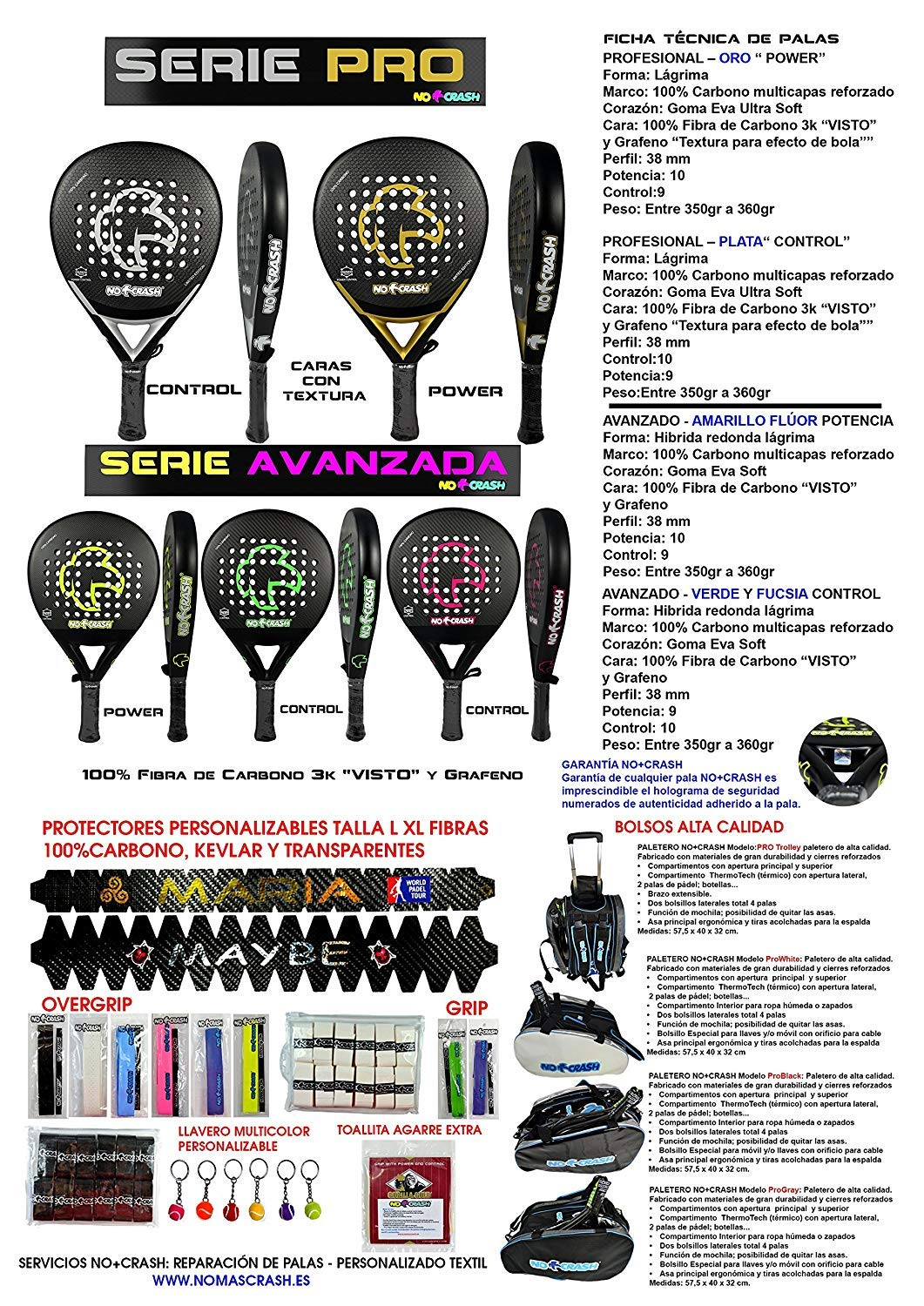 Protector Pala/Raqueta de Padel Padlle 100%Carbono Talla XL No+Crash® nomascrash No+Crash