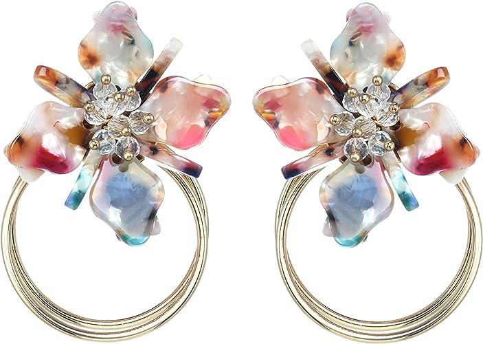 Glass Jewel Resin Drop Earrings