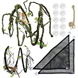 PietyPet Reptile Lizard Habitat Decor Accessories, Bearded Dragon Hammock, Fabric Reptile Hammock with Artificial Climbing Vi
