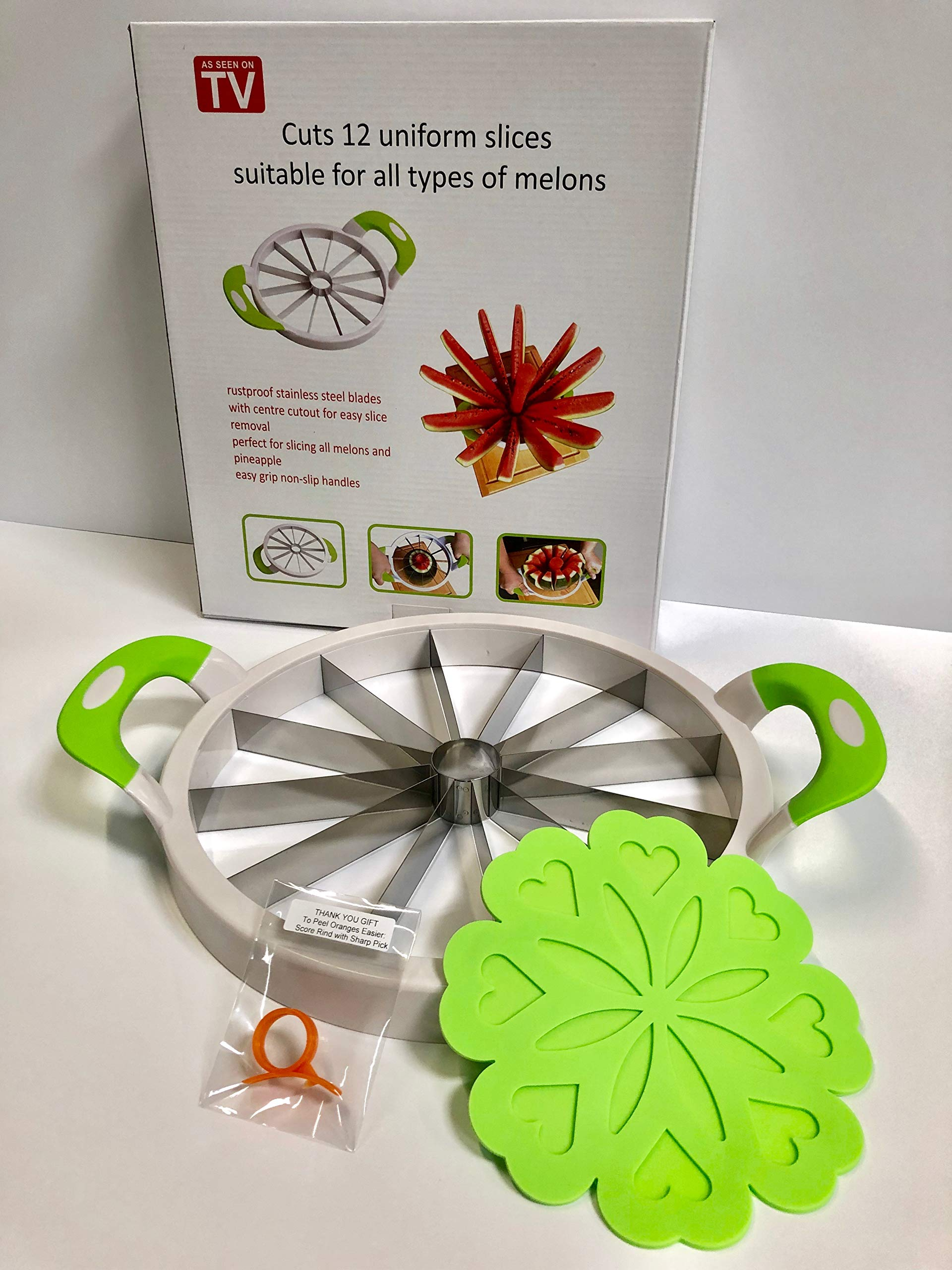 Extra Large Watermelon Slicer, Stainless Steel Fruit and Melon Cutter with Bonus Silicone Trivet Pot Holder Jar Opener and Orange Peeler by Dock 47