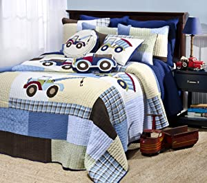 Levtex Trucks Full/Queen Cotton Quilt Set Blue Patchwork with Embroidery