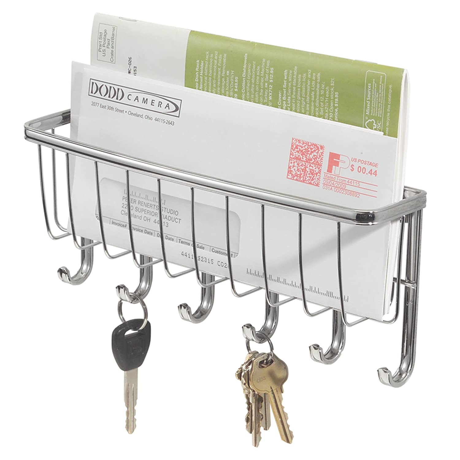 InterDesign York Lyra Wall Mount Key Rack Organizer for Entryway, Kitchen - 5 Hook, Chrome 54370