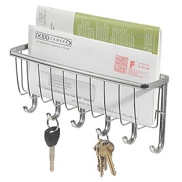 InterDesign York Lyra Colgador de pared para las llaves y el correo, guardallaves con 6 ganchos para colgar y cesta de metal, plateado: Amazon.es: Hogar